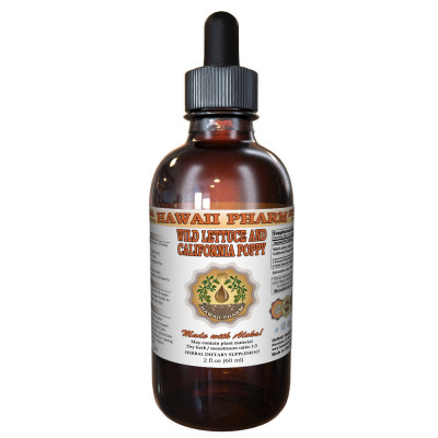 Wild Lettuce & California Poppy Tincture, ORGANIC Wild Lettuce (Lactuca Virosa) and California Poppy (Eschscholzia Californica) Dried above-ground parts Liquid Extract, Made in USA, Hawaii Pharm trusted brand, Herbal Supplement