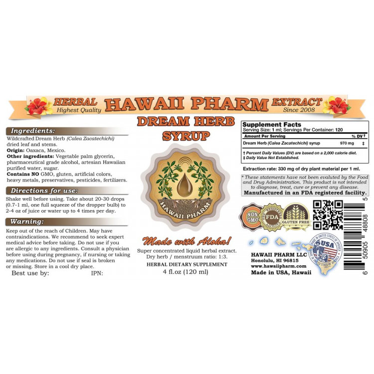 Dream Herb (Calea Zacatechichi) Liquid Extract Syrup, Lucid Dream Inducer