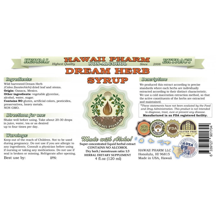 Dream Herb (Calea Zacatechichi) NON-Alcohol Liquid Extract Syrup, Lucid  Dream Inducer